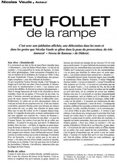 Article de presse 'Feu Follet'